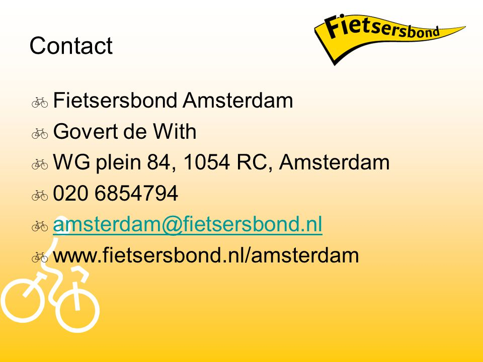 Contact Fietsersbond Amsterdam Govert de With