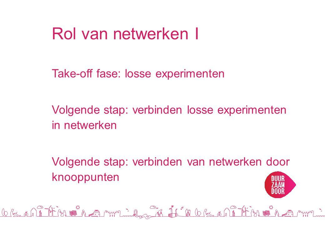 Rol van netwerken I Take-off fase: losse experimenten