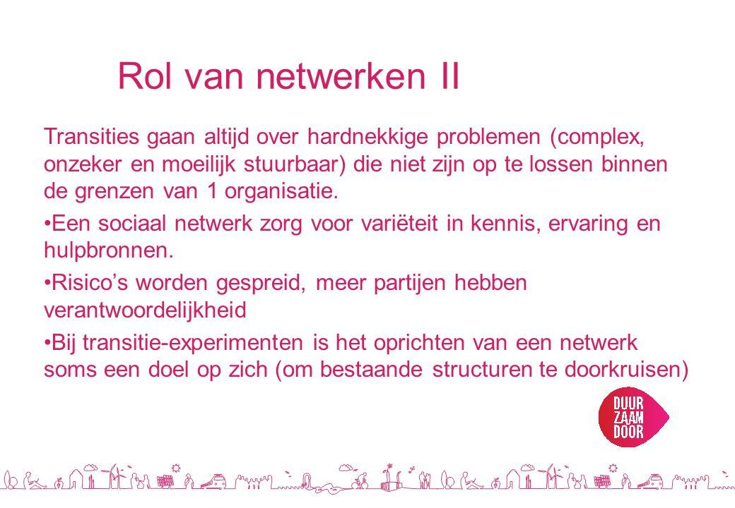 Rol van netwerken II