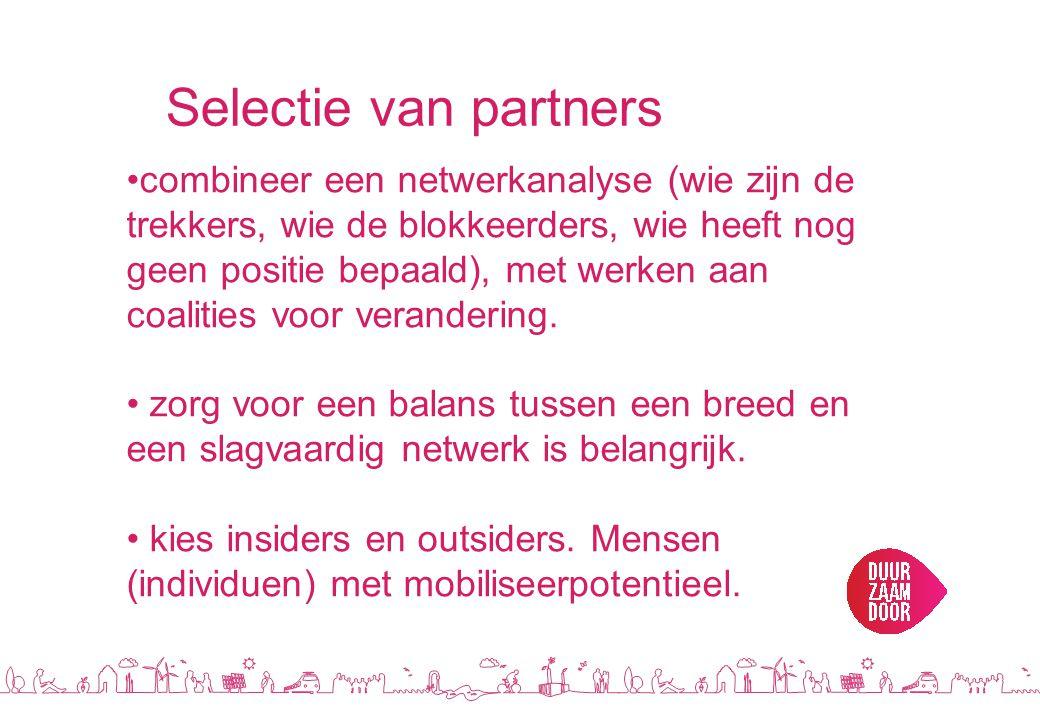 Selectie van partners