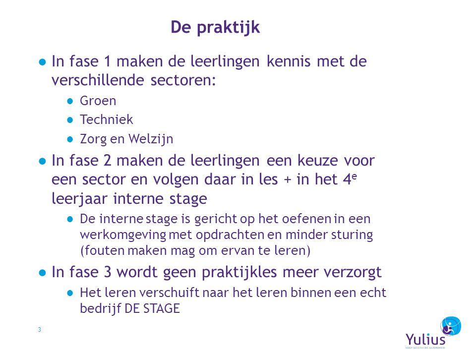 De praktijk In fase 1 maken de leerlingen kennis met de verschillende sectoren: Groen. Techniek. Zorg en Welzijn.