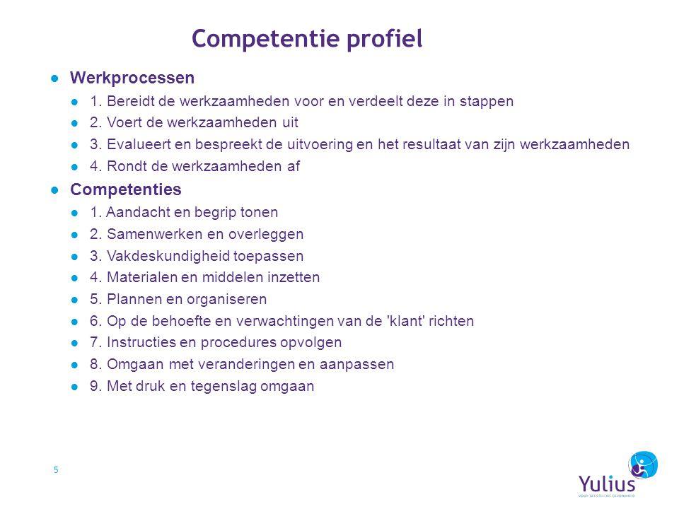 Competentie profiel Werkprocessen Competenties