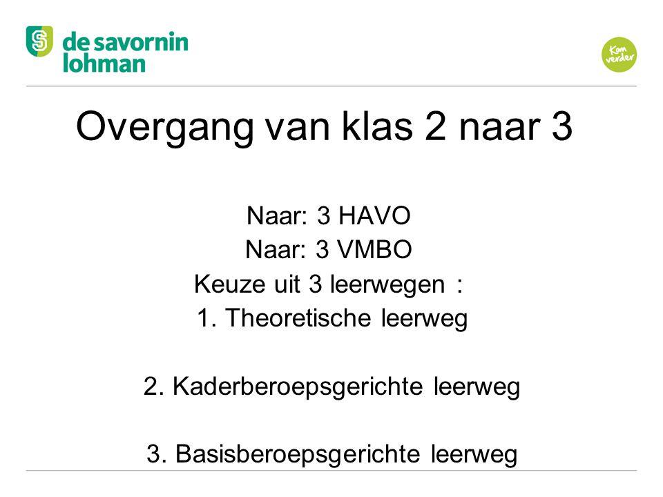 Overgang van klas 2 naar 3 Naar: 3 HAVO Naar: 3 VMBO
