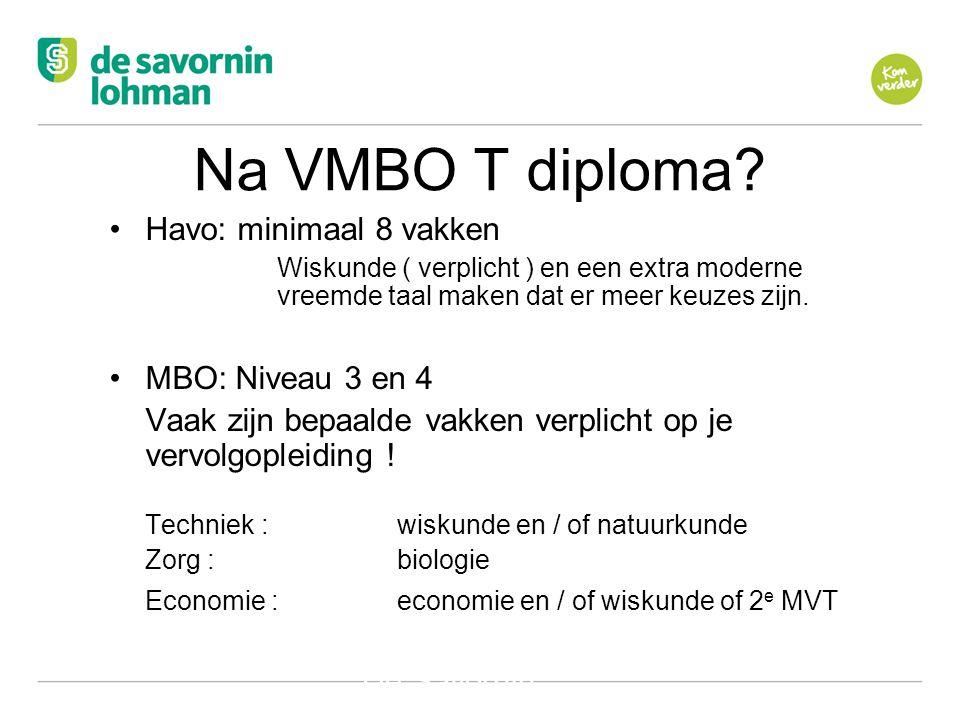Na VMBO T diploma Havo: minimaal 8 vakken MBO: Niveau 3 en 4