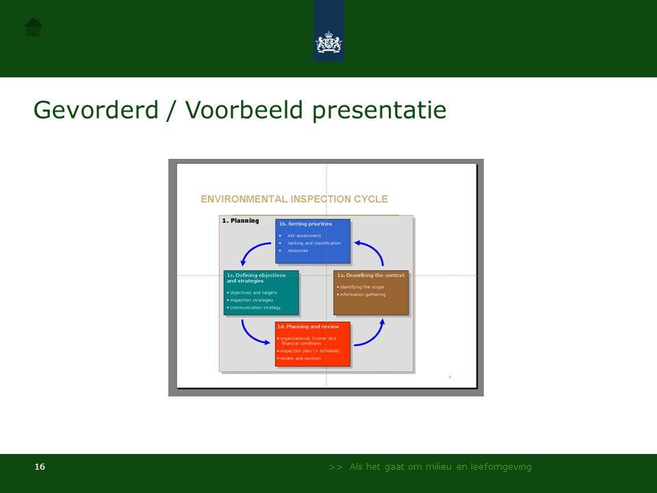 Gevorderd / Voorbeeld presentatie