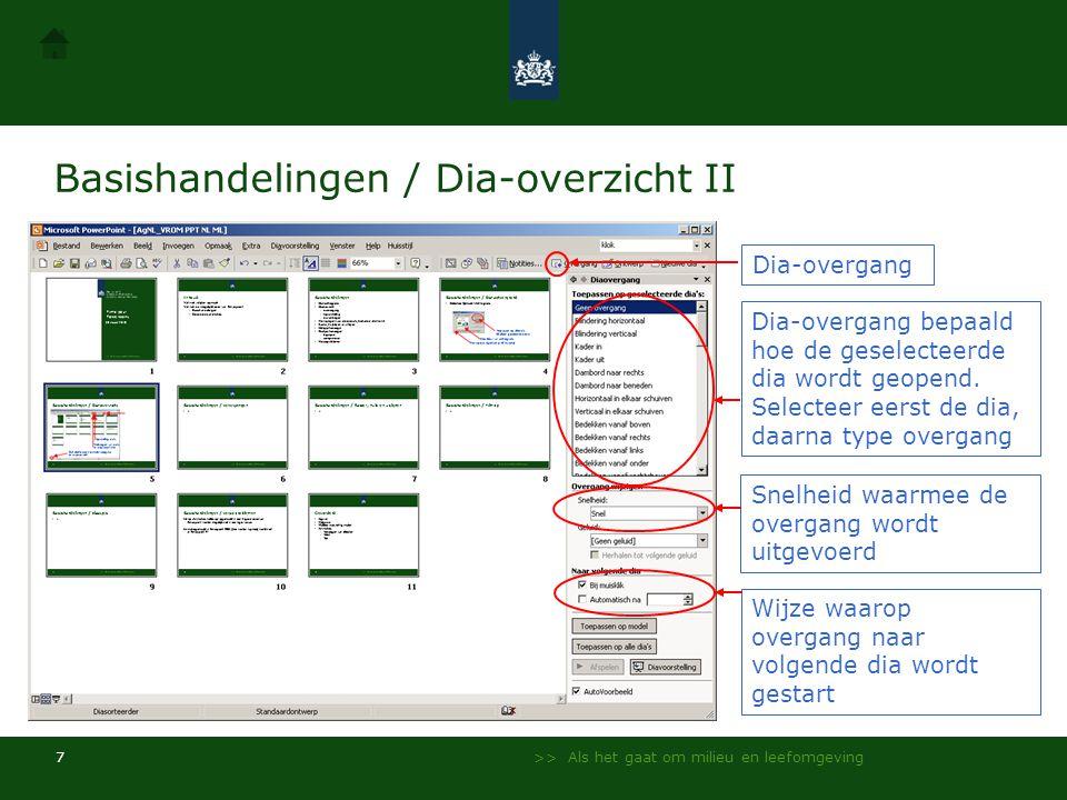 Basishandelingen / Dia-overzicht II