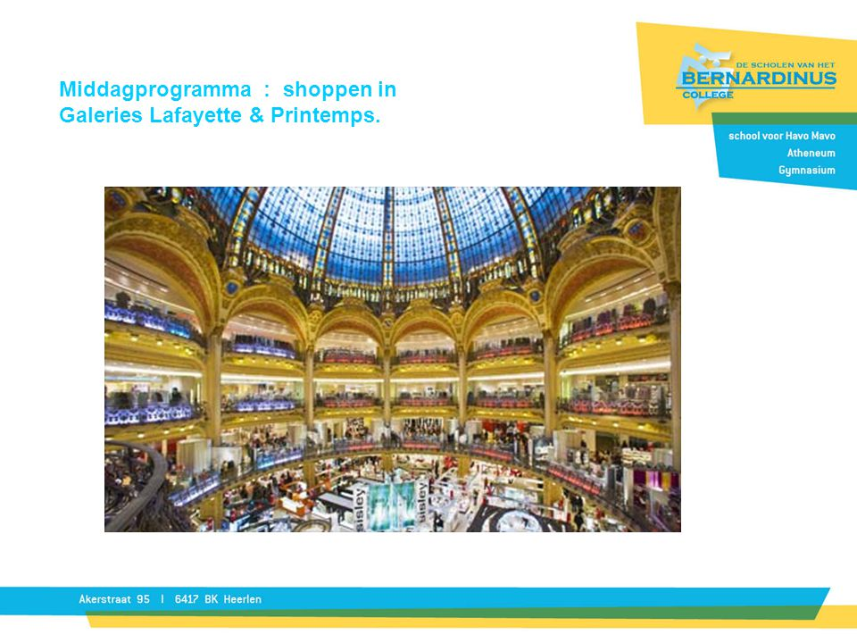Middagprogramma : shoppen in Galeries Lafayette & Printemps.
