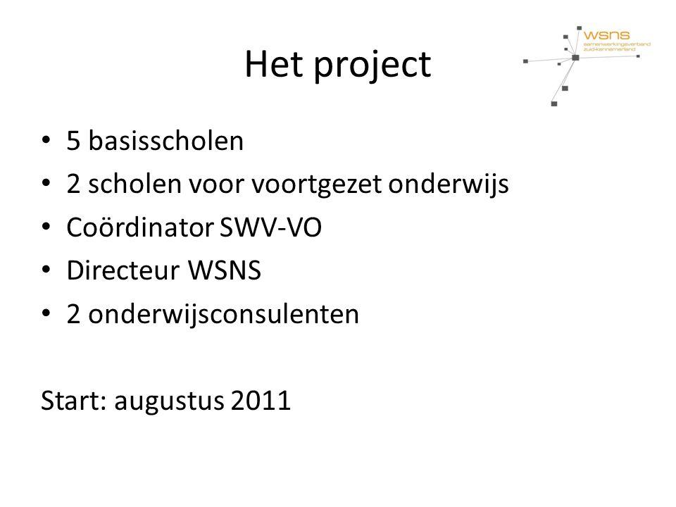 Het project 5 basisscholen 2 scholen voor voortgezet onderwijs