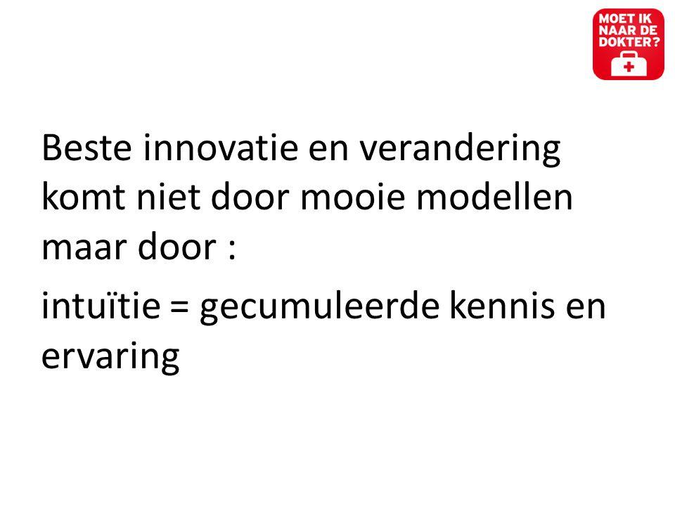 Beste innovatie en verandering komt niet door mooie modellen maar door :