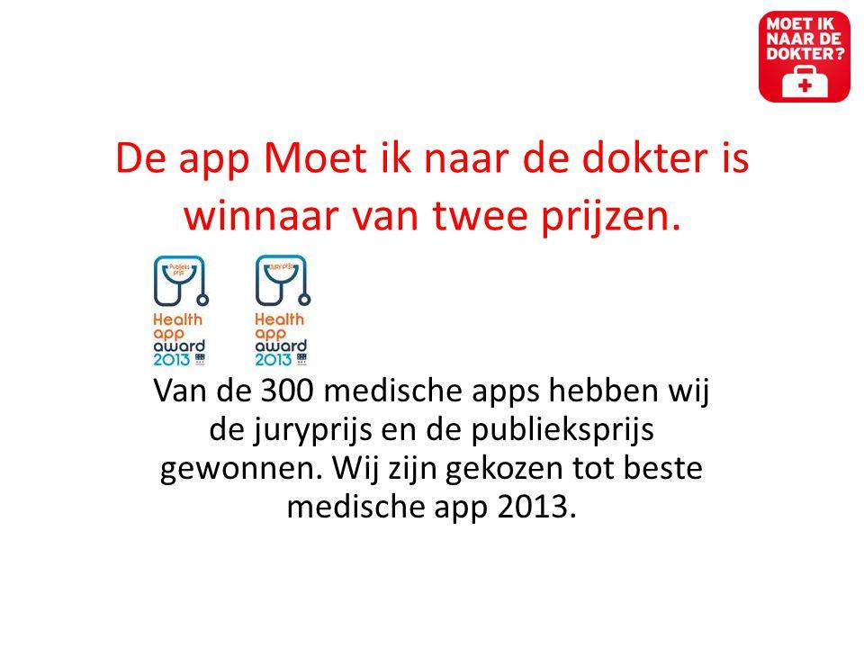 De app Moet ik naar de dokter is winnaar van twee prijzen.