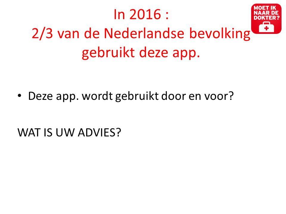 In 2016 : 2/3 van de Nederlandse bevolking gebruikt deze app.