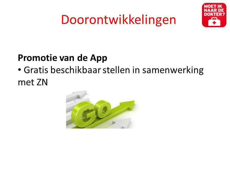 Doorontwikkelingen Promotie van de App