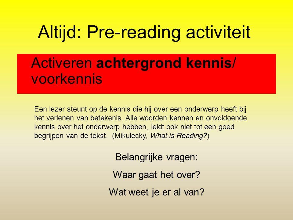 Altijd: Pre-reading activiteit