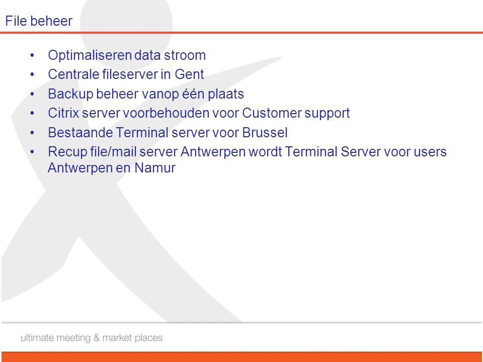 File beheer Optimaliseren data stroom. Centrale fileserver in Gent. Backup beheer vanop één plaats.