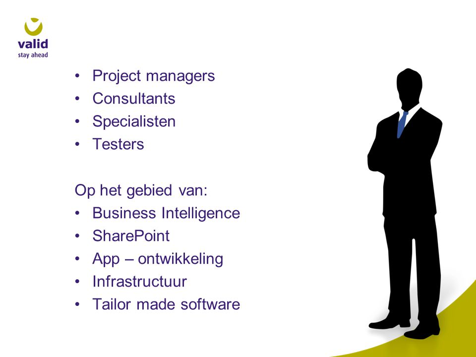 Project managers Consultants. Specialisten. Testers. Op het gebied van: Business Intelligence. SharePoint.