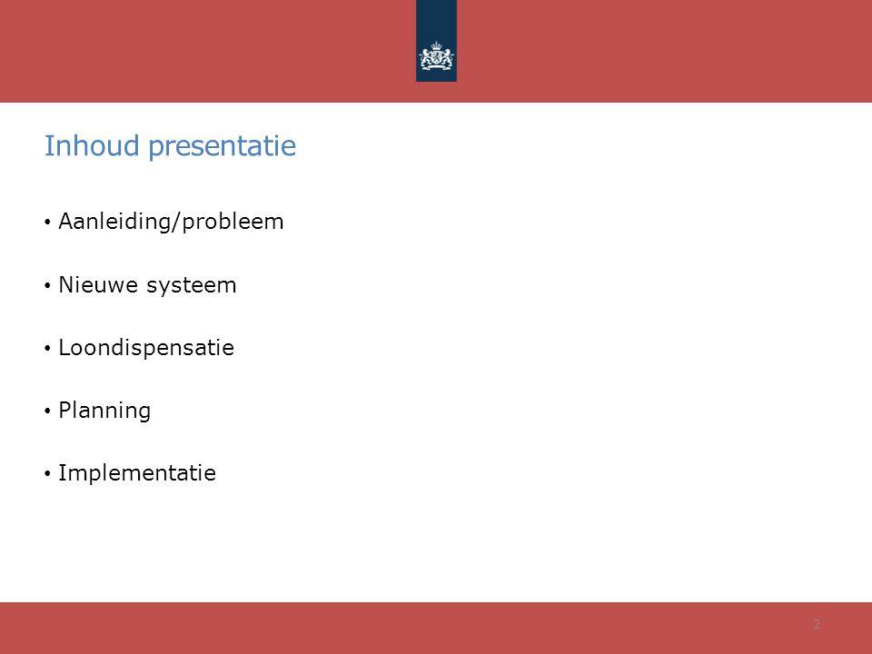 Inhoud presentatie Aanleiding/probleem Nieuwe systeem Loondispensatie