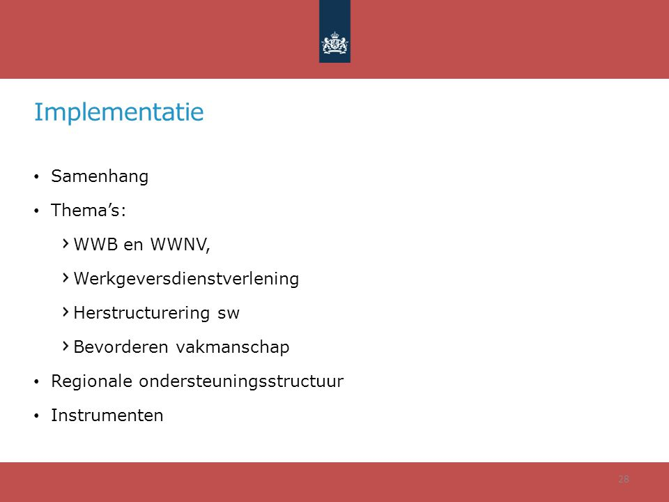 Implementatie Samenhang Thema's: WWB en WWNV,