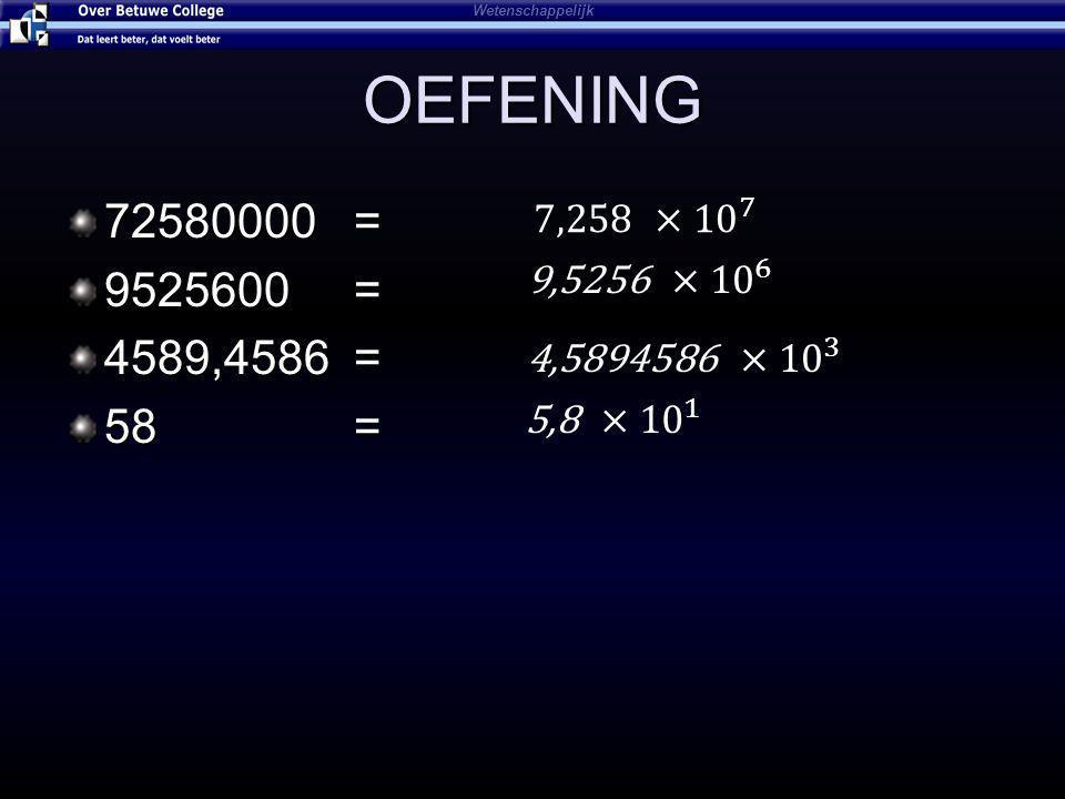 Wetenschappelijk OEFENING. 72580000 = 9525600 = 4589,4586 = 58 = 7,258 ×10 7.