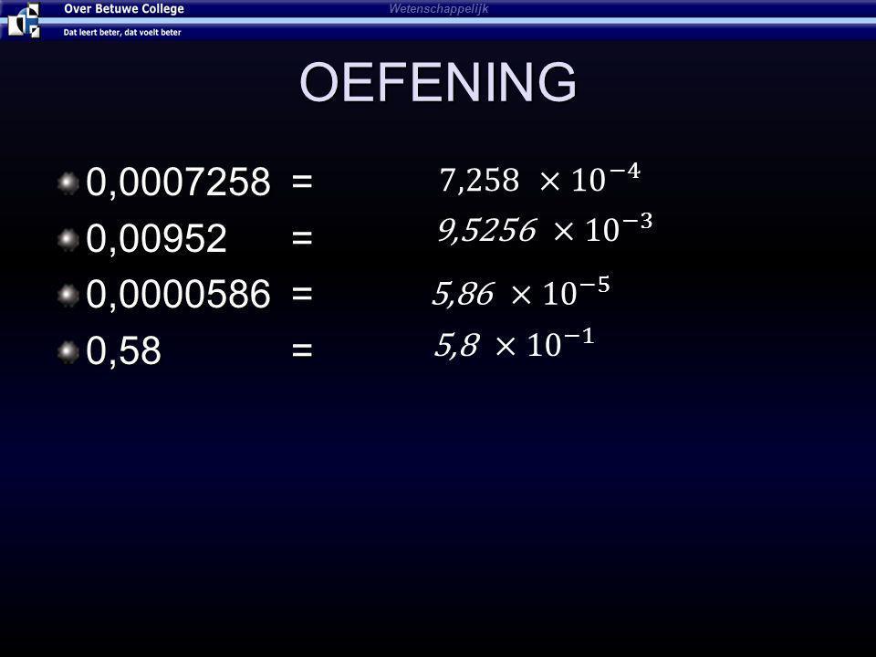 Wetenschappelijk OEFENING. 0,0007258 = 0,00952 = 0,0000586 = 0,58 = 7,258 ×10 −4.