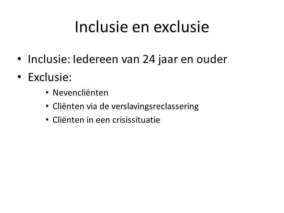 Inclusie en exclusie Inclusie: Iedereen van 24 jaar en ouder Exclusie: