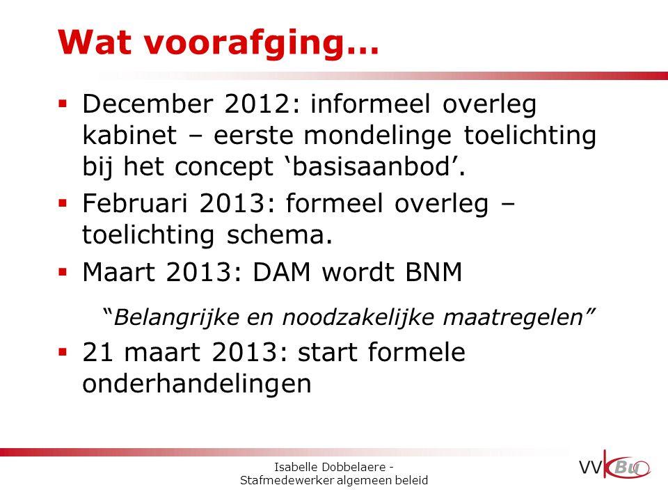 Wat voorafging… December 2012: informeel overleg kabinet – eerste mondelinge toelichting bij het concept 'basisaanbod'.