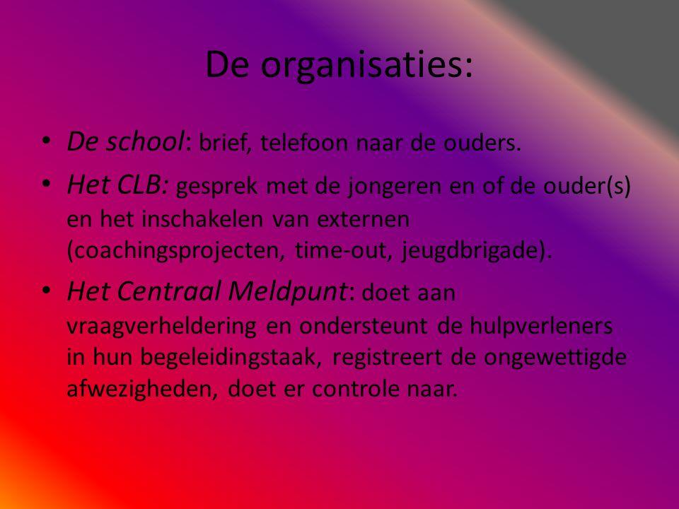 De organisaties: De school: brief, telefoon naar de ouders.