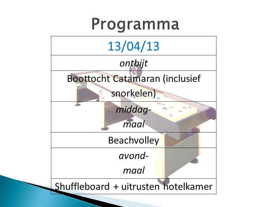 Programma 13/04/13 ontbijt Boottocht Catamaran (inclusief snorkelen)