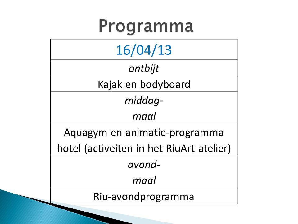 Aquagym en animatie-programma hotel (activeiten in het RiuArt atelier)