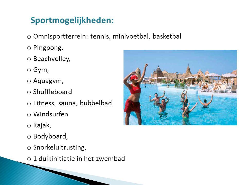 Sportmogelijkheden: Omnisportterrein: tennis, minivoetbal, basketbal