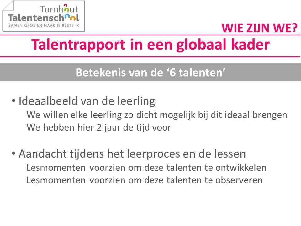 Talentrapport in een globaal kader Betekenis van de '6 talenten'