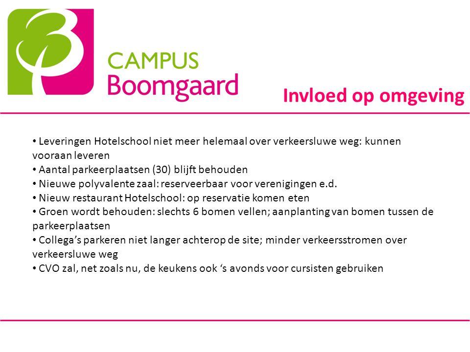 Invloed op omgeving Leveringen Hotelschool niet meer helemaal over verkeersluwe weg: kunnen vooraan leveren.