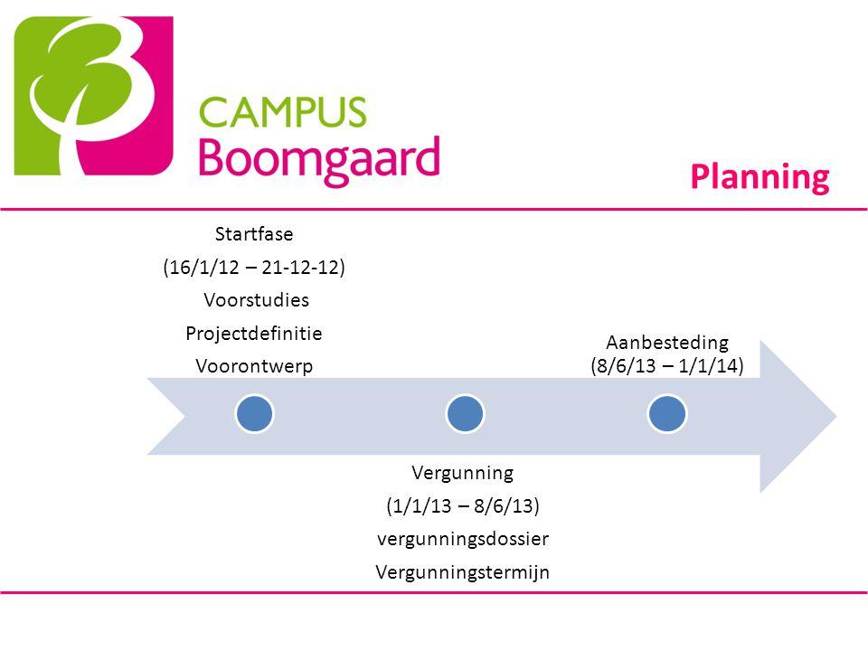 Planning Startfase (16/1/12 – 21-12-12) Voorstudies Projectdefinitie