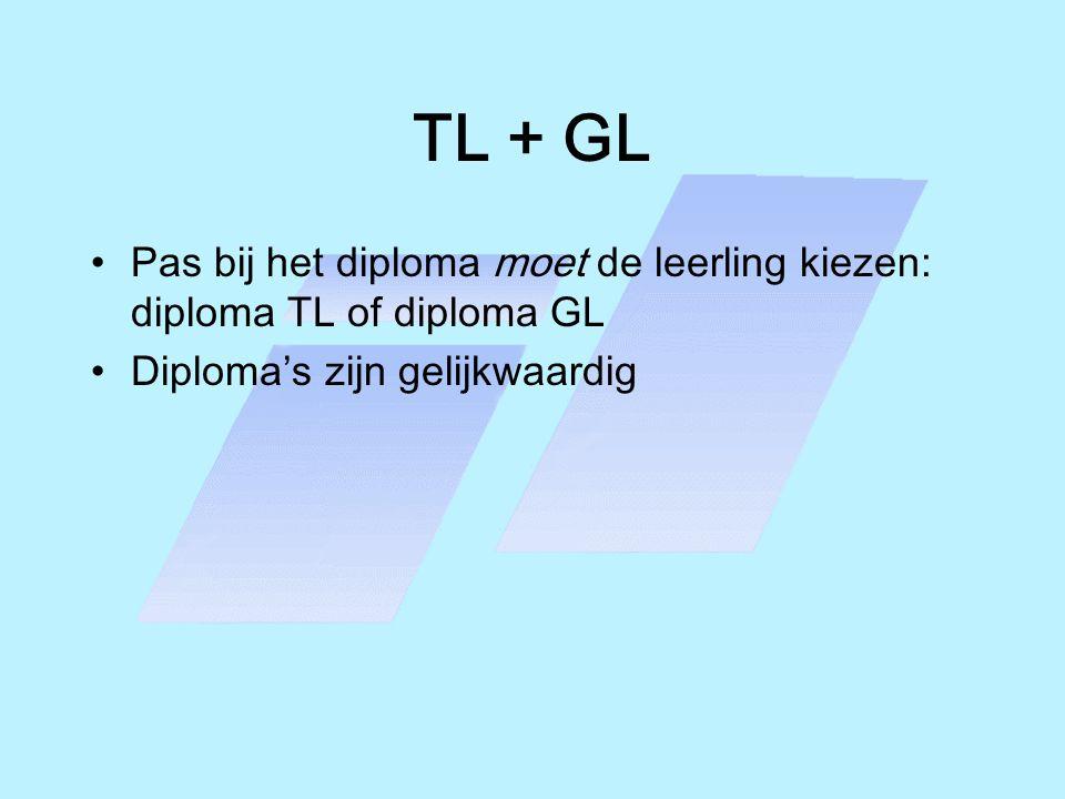 TL + GL Pas bij het diploma moet de leerling kiezen: diploma TL of diploma GL.