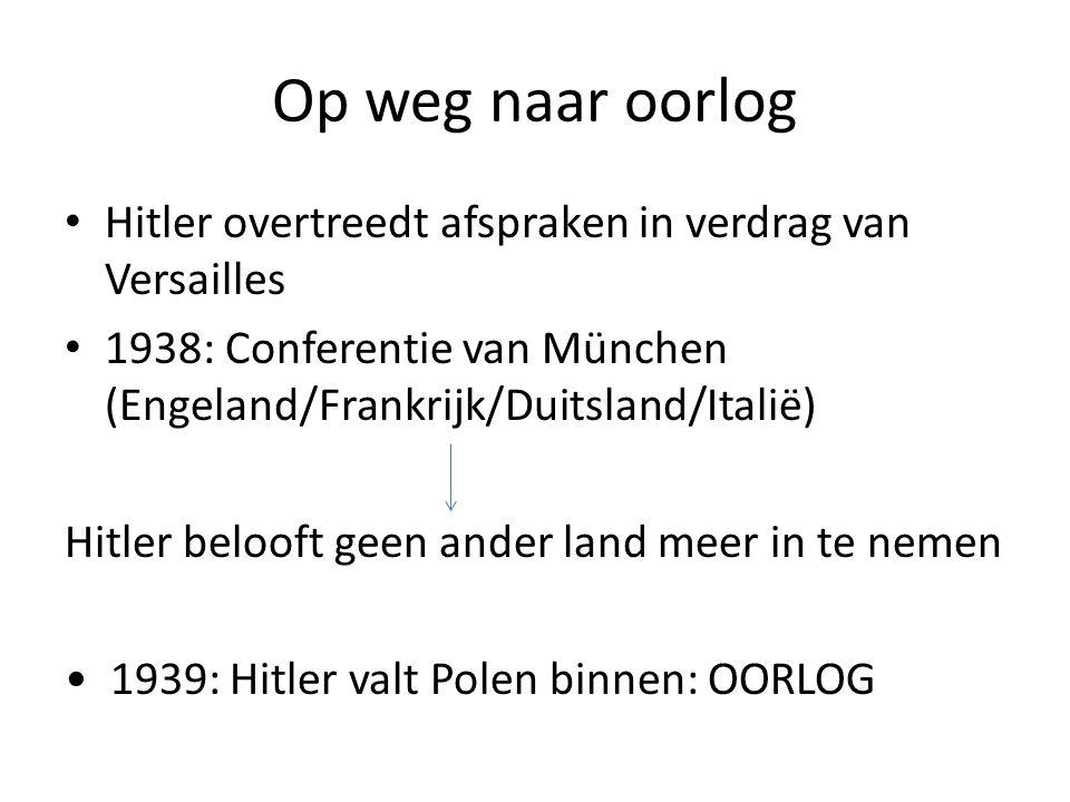 Op weg naar oorlog Hitler overtreedt afspraken in verdrag van Versailles. 1938: Conferentie van München (Engeland/Frankrijk/Duitsland/Italië)