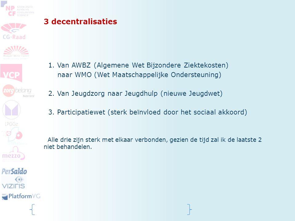 3 decentralisaties 1. Van AWBZ (Algemene Wet Bijzondere Ziektekosten)