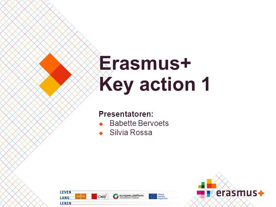 Erasmus+ Key action 1 Presentatoren: Babette Bervoets Silvia Rossa