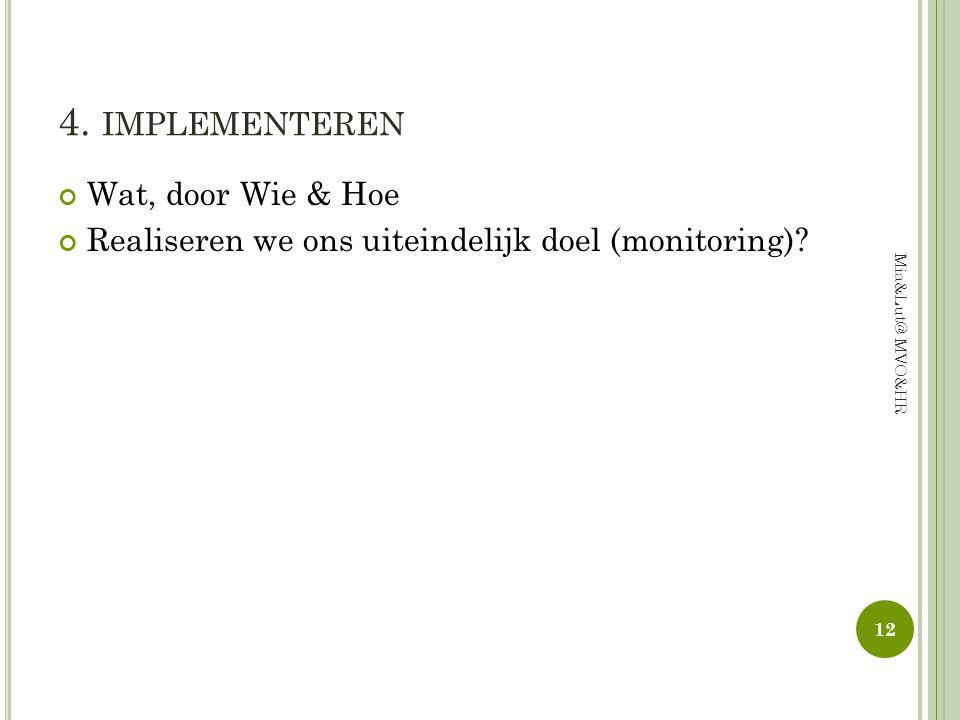 4. implementeren Wat, door Wie & Hoe