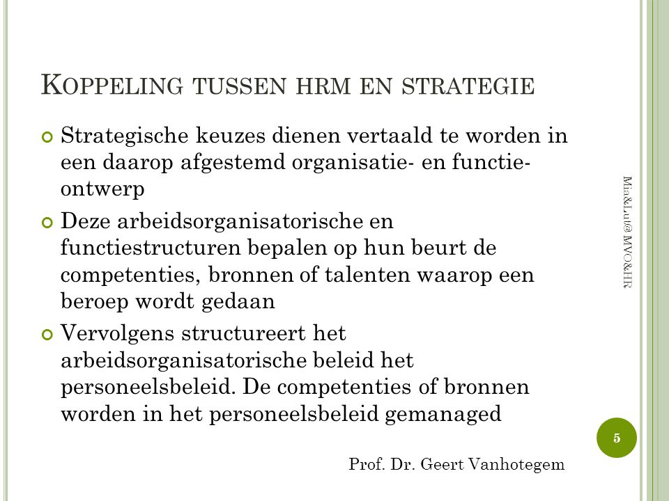 Koppeling tussen hrm en strategie