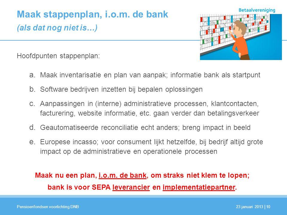 Maak stappenplan, i.o.m. de bank (als dat nog niet is…)