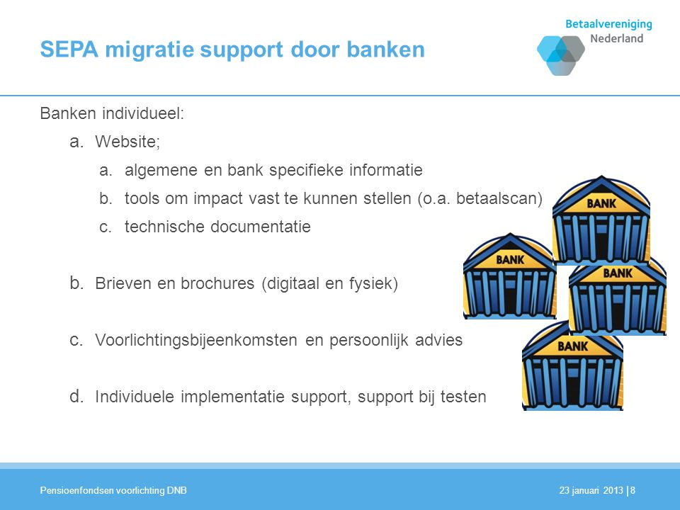 SEPA migratie support door banken