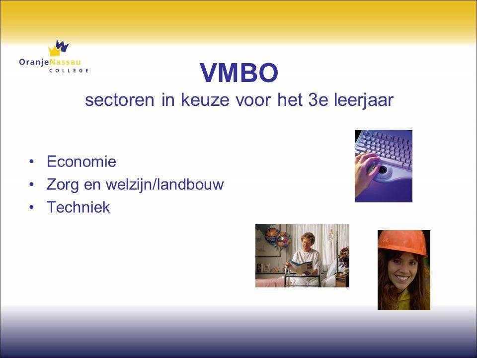 VMBO sectoren in keuze voor het 3e leerjaar