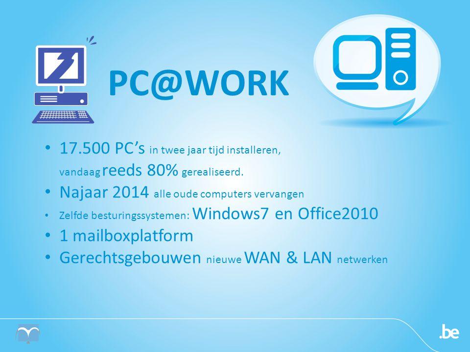 PC@WORK 17.500 PC's in twee jaar tijd installeren, vandaag reeds 80% gerealiseerd. Najaar 2014 alle oude computers vervangen.