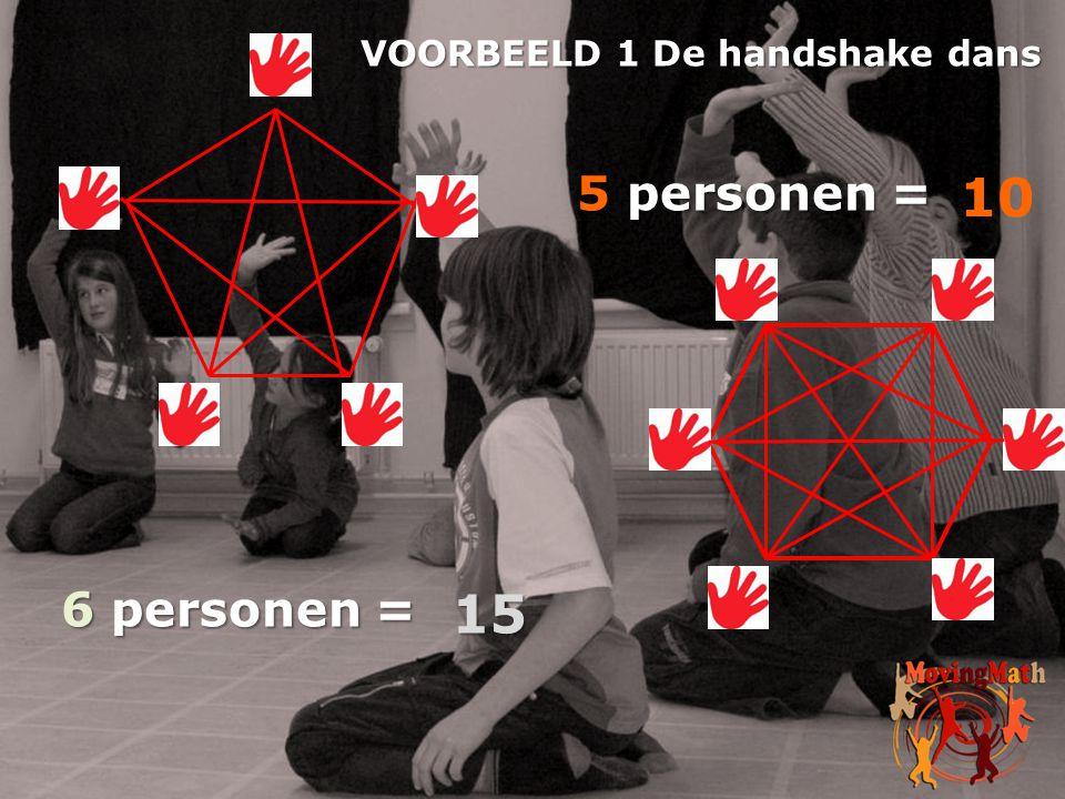 10 15 5 personen = 6 personen = VOORBEELD 1 De handshake dans