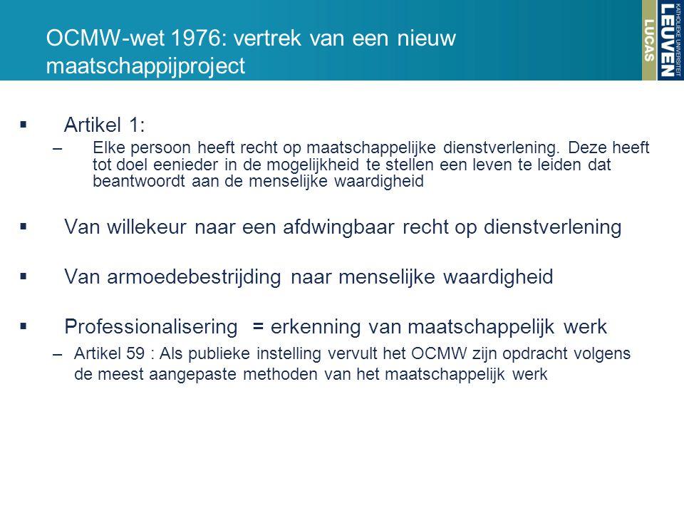 OCMW-wet 1976: vertrek van een nieuw maatschappijproject