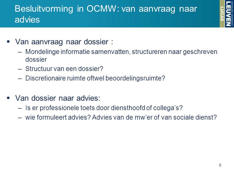 Besluitvorming in OCMW: van aanvraag naar advies