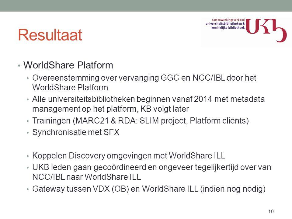 Resultaat WorldShare Platform