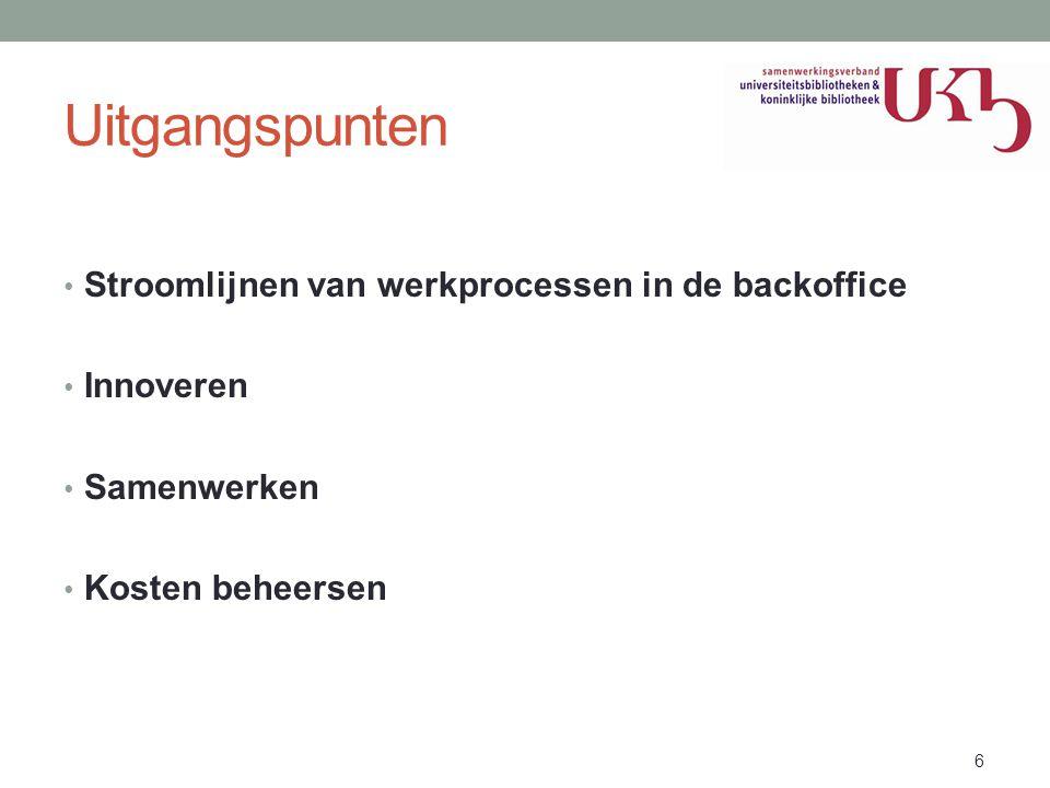 Uitgangspunten Stroomlijnen van werkprocessen in de backoffice