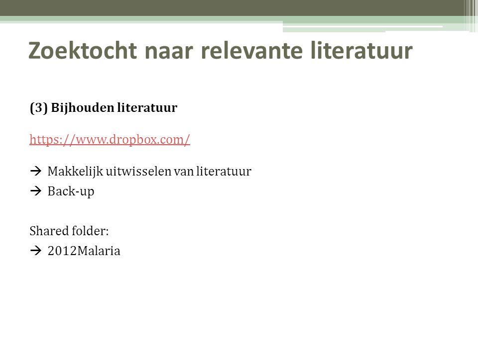 Zoektocht naar relevante literatuur