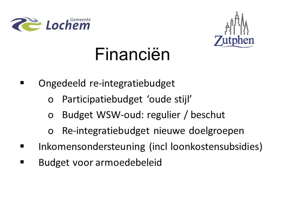 Financiën Ongedeeld re-integratiebudget