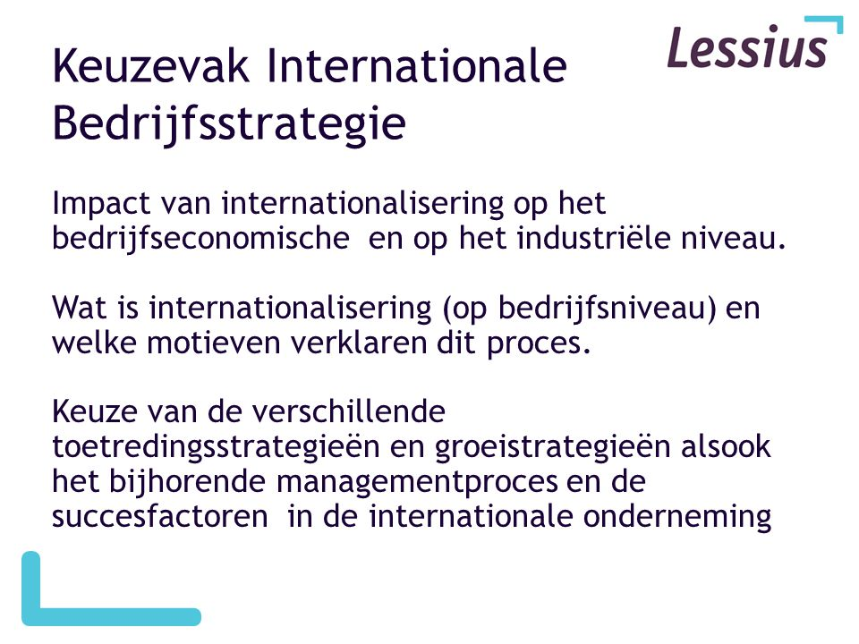 Keuzevak Internationale Bedrijfsstrategie